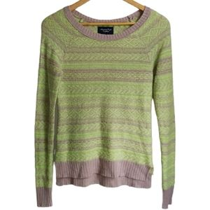 3/30$ AEO Yellow Neon & Beige Wool & Mohair Knitted Sweater Sweater Size XS